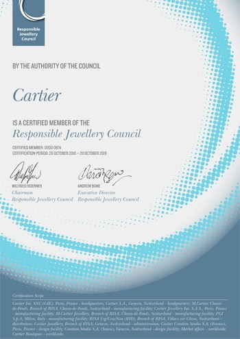 Certified Member of the Responsible Jewelry Council