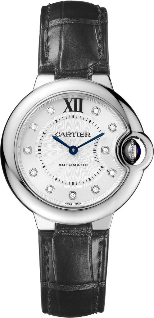 Ballon Bleu de Cartier watch33 mm, steel, leather, diamonds