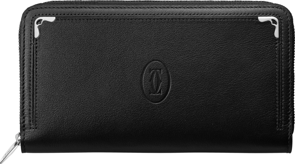 Must de Cartier zipped international walletBlack calfskin, palladium finish