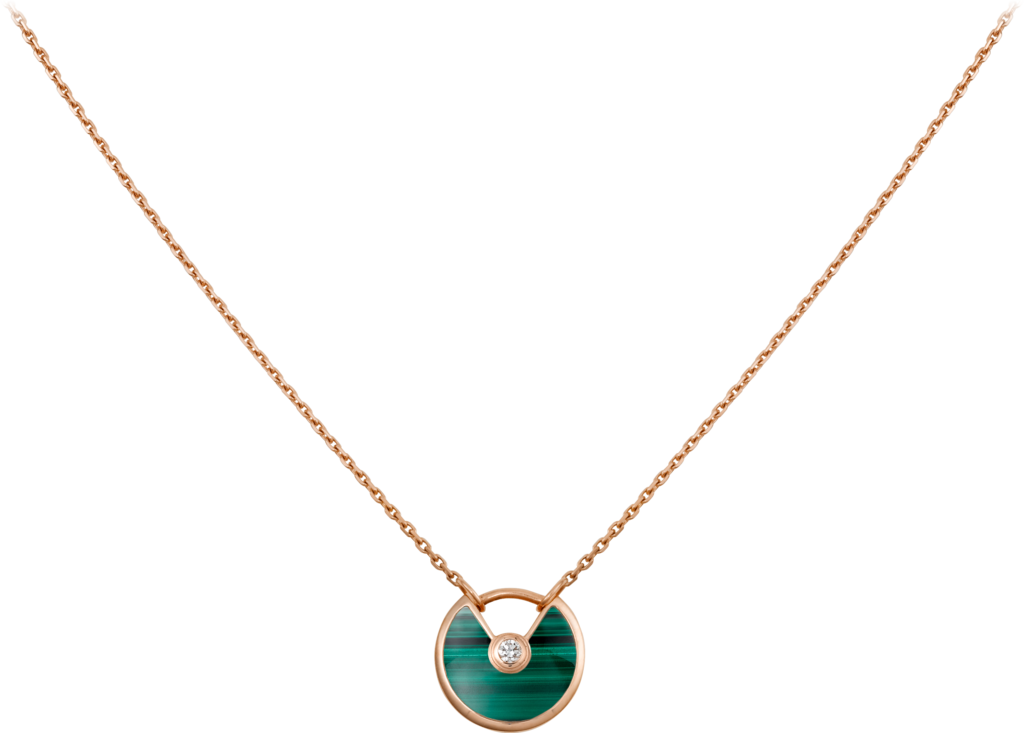 Amulette de Cartier necklace, XS modelRose gold, malachite, diamond