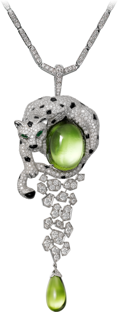 Panthère de Cartier High Jewellery necklaceWhite gold, peridots, onyx, emeralds, diamonds