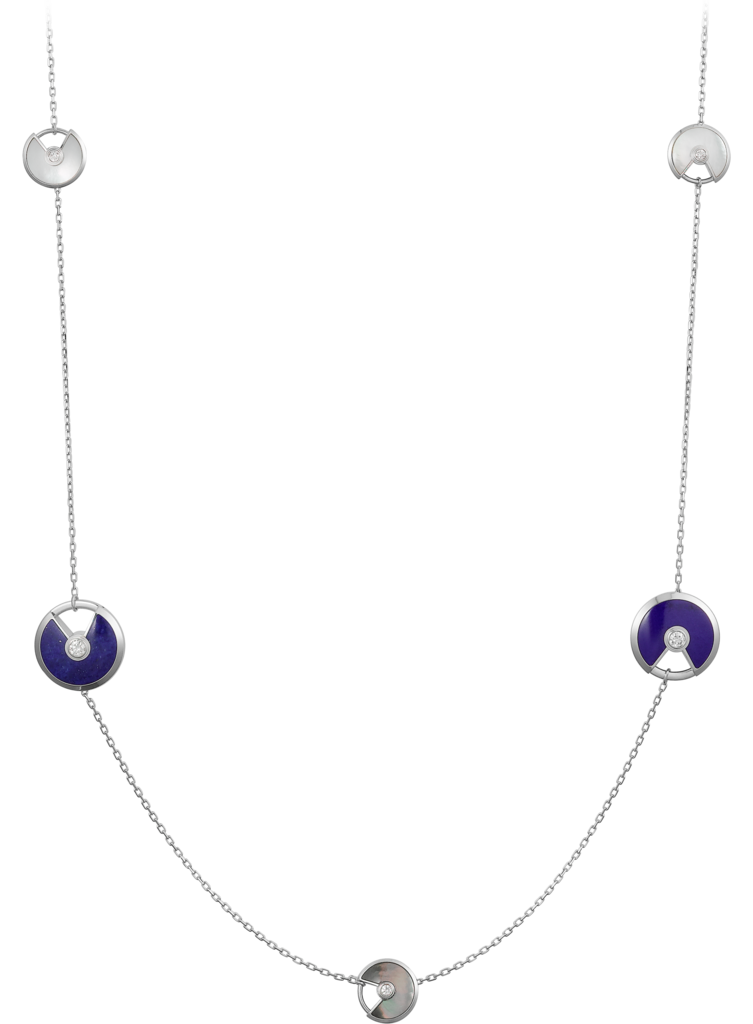 Amulette de Cartier long necklace, XS and small modelsWhite gold, lapis lazuli, white and grey mother-of-pearl, diamonds