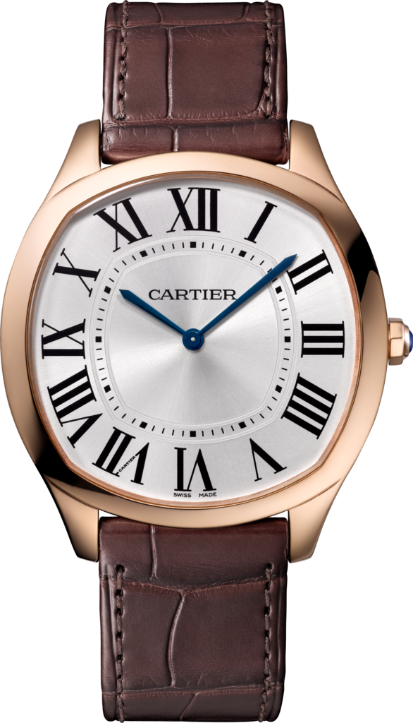 Drive de Cartier Extra-Flat watchLarge model, hand-wound mechanical movement, rose gold, leather