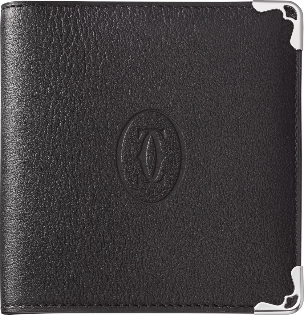Must de Cartier 6-credit card compact walletBlack calfskin, stainless steel finish