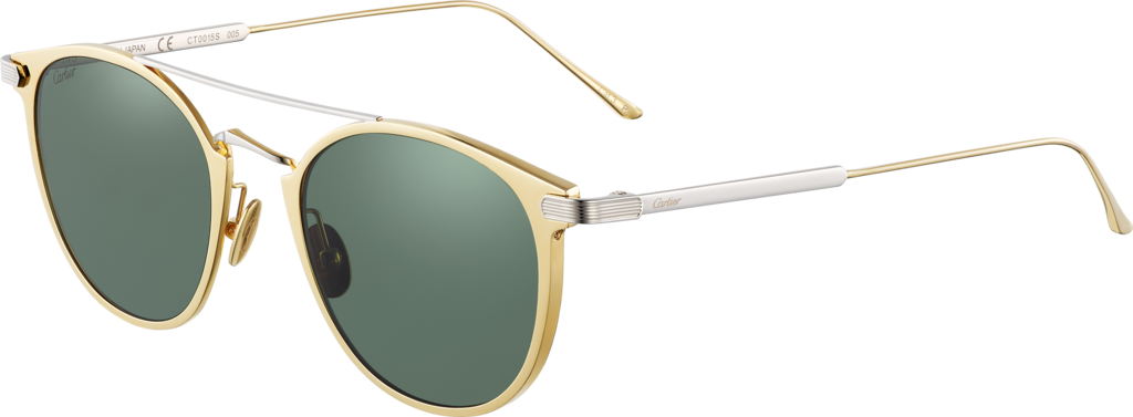 C de Cartier SunglassesMetal, golden finish, platinum-finish details, green polarised lenses.