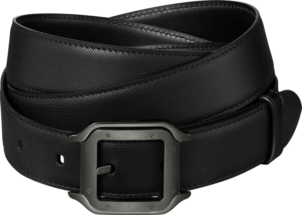 Santos de Cartier beltBlack cowhide, black PVD-finish buckle