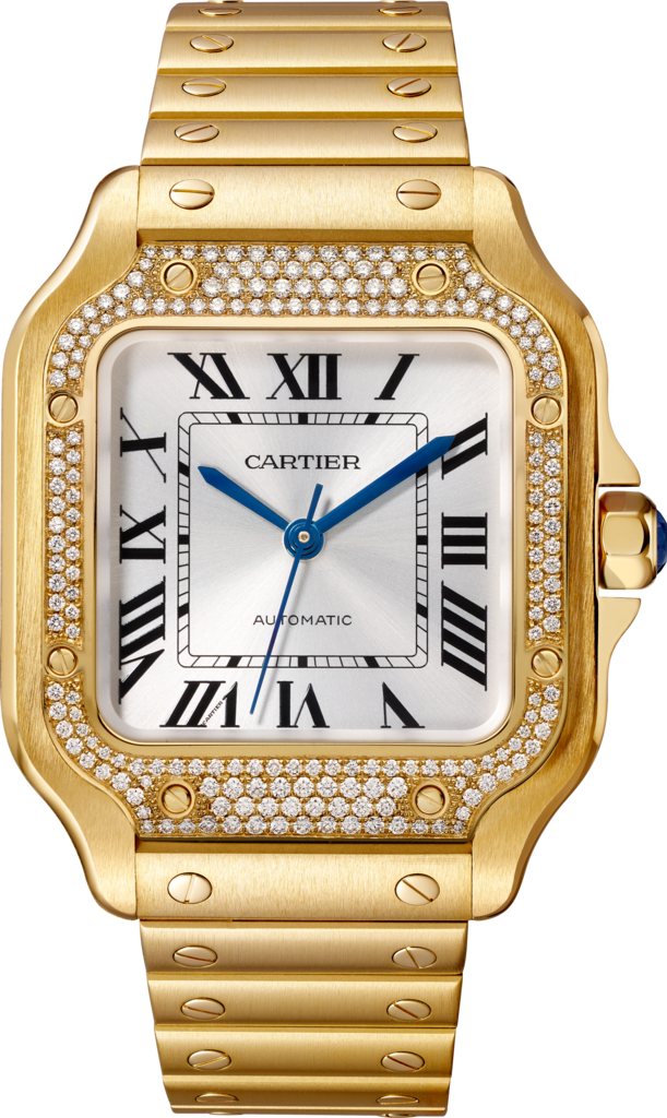 Santos de Cartier watchMedium model, automatic movement, yellow gold, diamonds, interchangeable metal and leather bracelets