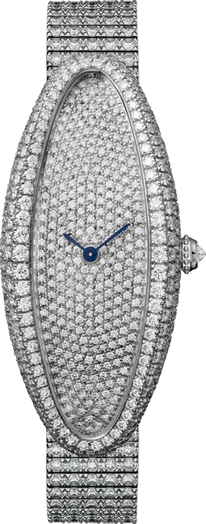 Baignoire Allongée watchMedium model, hand-wound mechanical movement, white gold, diamonds