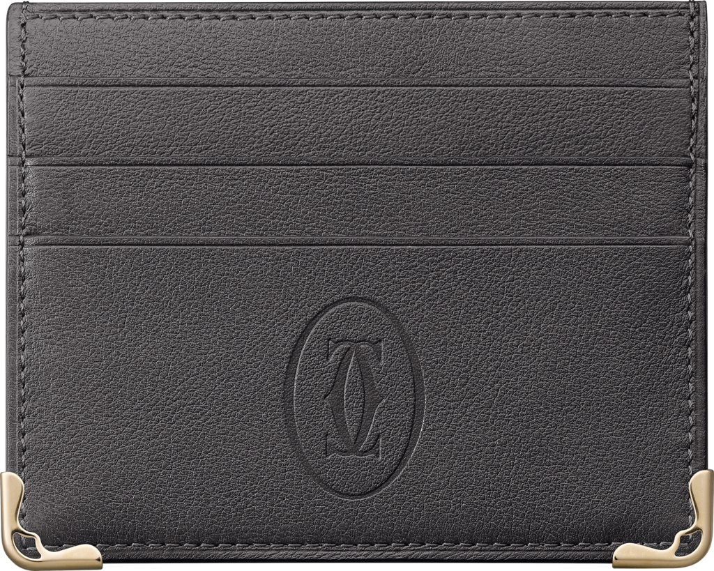 Must de Cartier 6-credit card holderDark grey calfskin, gold finish