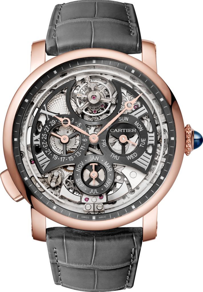 Rotonde de Cartier watch45mm, automatic movement, rose gold, leather