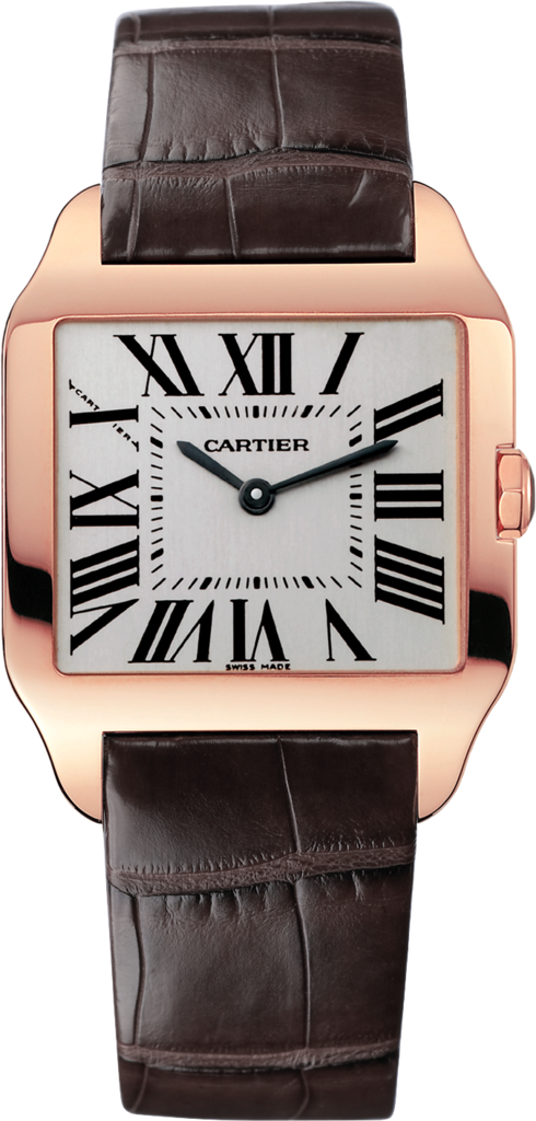 Santos-Dumont watchSmall model, quartz movement, rose gold, leather