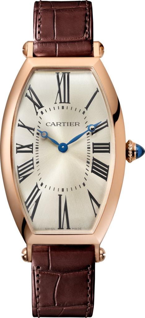 Tonneau watchLarge model, hand-wound mechanical movement, rose gold, leather