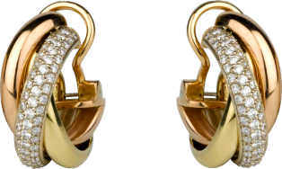 Trinity earrings White gold, yellow gold, pink gold, diamonds