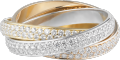 Trinity ring, small model White gold, yellow gold, pink gold, diamonds