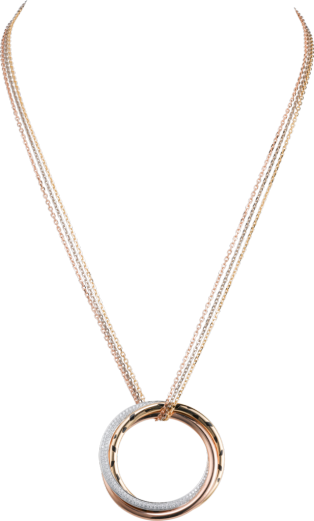 Trinity necklace White gold, yellow gold, pink gold, lacquer, diamonds