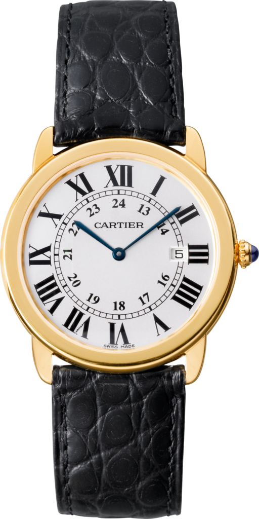 Ronde Solo de Cartier watch36mm, quartz movement, yellow gold, steel, leather