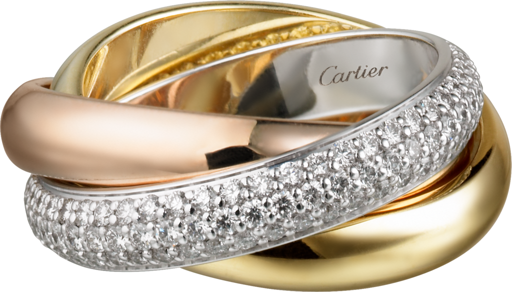 Trinity ring, classicWhite gold, yellow gold, rose gold, diamonds