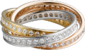 Trinity ring White gold, yellow gold, pink gold, diamonds