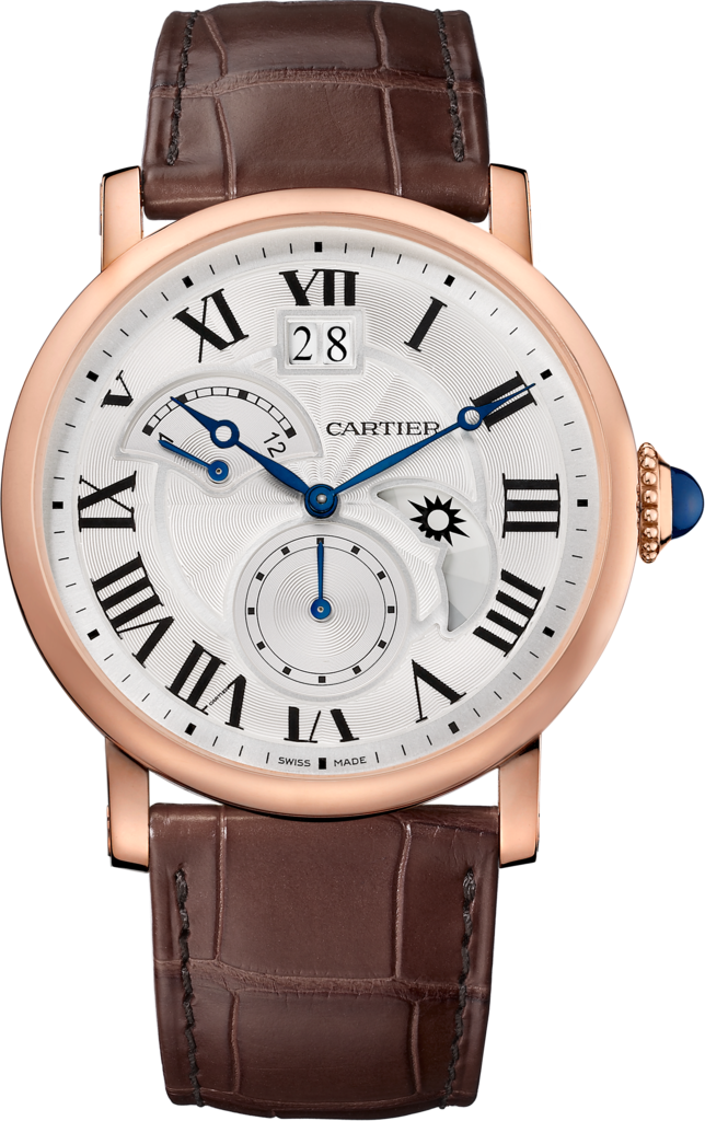 Rotonde de Cartier watch, Large Date, Retrograde Second Time Zone and Day Night Indicator42 mm, rose gold, leather