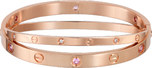 <span class='lovefont'>A </span> bracelet, 6 pink sapphires, 6 diamonds Pink gold, pink sapphires, diamonds