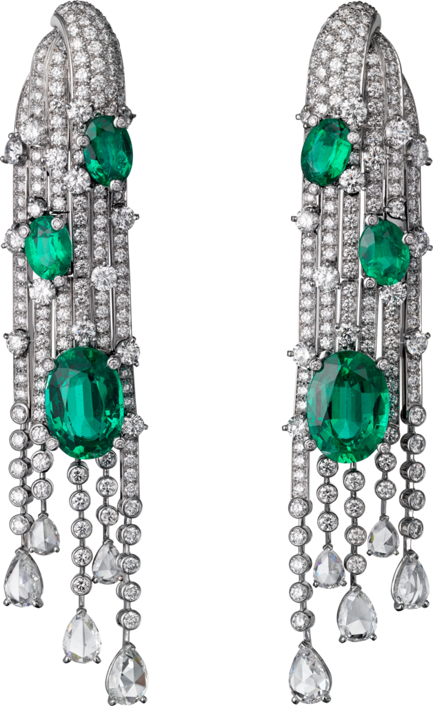 High Jewellery earringsWhite gold, emeralds, diamonds