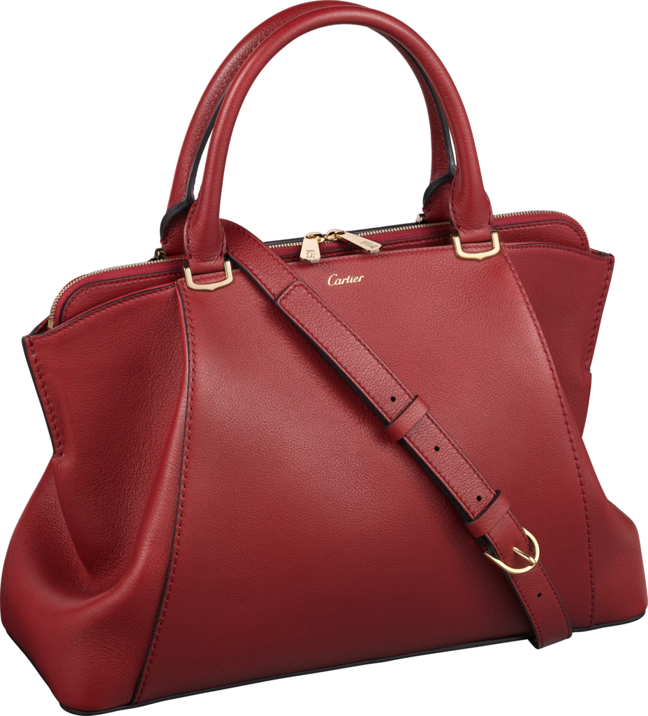 C de Cartier bag, small modelRed spinel-coloured taurillon leather, golden finish